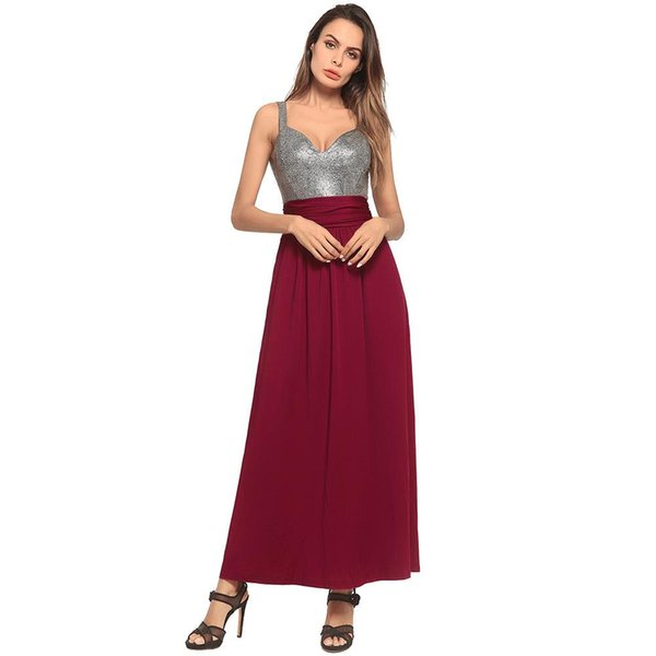 Wholesale 2018 Fashion Sling On The Back Bridesmaid Designer Dress Sexy Stitching Women Clothes Street People Long Pendulum Casual Dresses