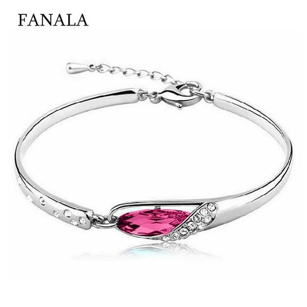 New Women Fashion Heart Shape Bangle Beauty Everyday Bracelet Chain Wristband Artificial Gem 16cm + 5cm