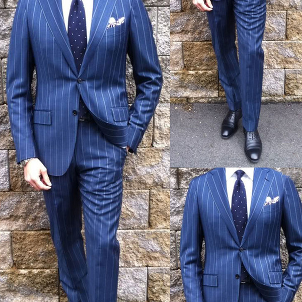 Fashion Stripe Groom Wear Two Pieces Peaked Lapel Men Wedding Tuxedos Navy Blue Two Button Formal Blazer Suits