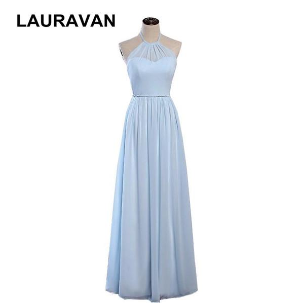 sexy largo luz azul cielo dulce 16 cabestro ajustado formal elegante vestidos de dama de honor aline mujer damas de honor vestido 2019 nuevo