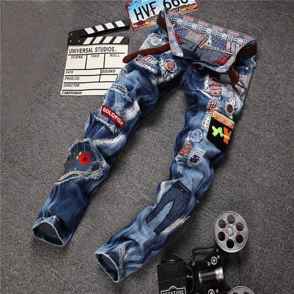 wholesale lowest price men's labeling jeans 2018 new men's luxury slim hole jeans pants men's blue jeans pant Free shipping 967