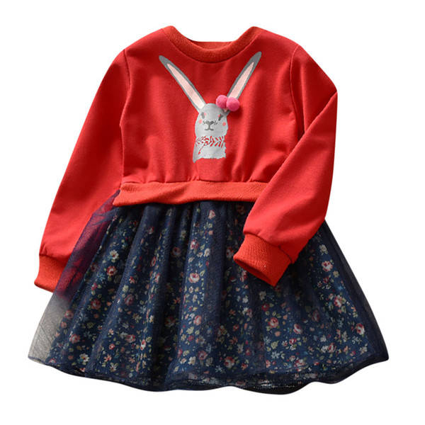 2019 Red or Pink Toddler Kids Baby Girl Clothes Cartoon Bunny Floral Princess Dress Outfits Clothes Dress for Girl vestido menina
