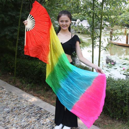 1.8 손으로 만든 화려한 밸리 댄스 대나무 롱 실크 팬 베일 댄스 팬