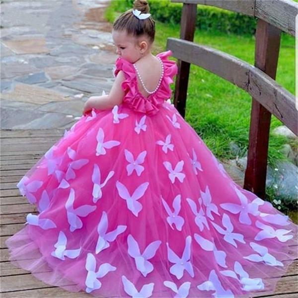 Beau papillon robe de bal filles Pageant robes Jewel dos nu balayage train fête d'anniversaire d'enfant Appliques Robes robe de demoiselle