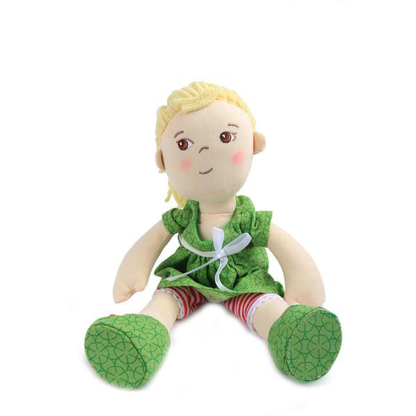 Jugar a la casa jugar a los papeles con la muñeca Linda linda de peluche con un paño verde Niños juguetes acompañantes calmantes Aprender a vestir Juguetes para niños