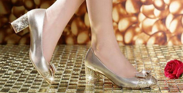 2016 new spring shoes leather head with slope with sequins shallow mouth spell color thick with Bow Shoes