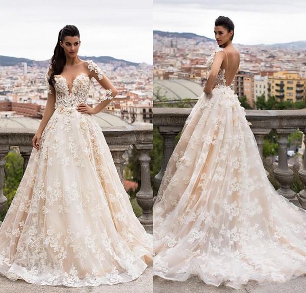 2019 Sexy Una línea Vestidos de novia Ilusión Sheer Neck Lace 3D apliques florales Mangas largas Volver abierto Más tamaño Vestidos de novia formales largos