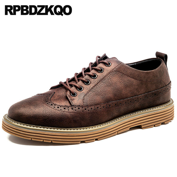 designer british style lace up winter comfort wingtip slip resistant men stylish spring oxfords 2018 brogue casual brown shoes