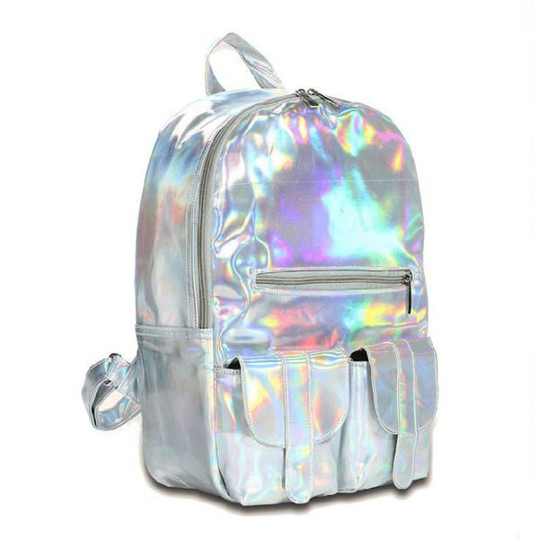 2019 vendedor caliente de moda mochila holograma para la escuela de las mujeres del láser de color de plata del bolso olográfico