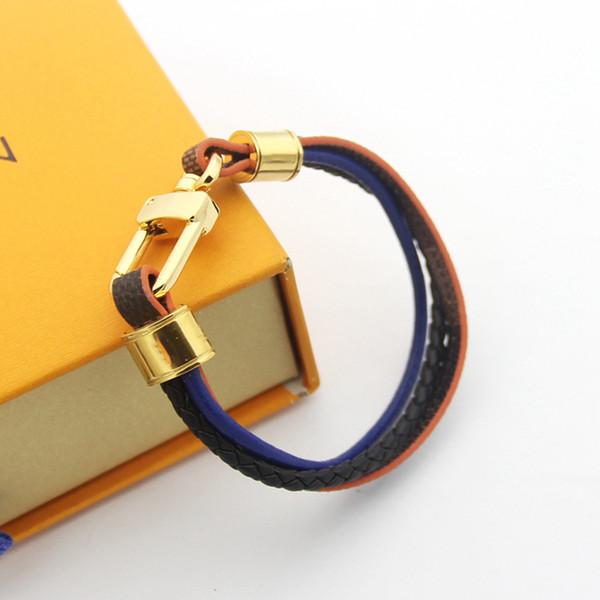 Neue Leder Herren Armreif Armbänder Frauen Brown Mesh Magnetic Edelstahl Verschluss Double Wrap Armband Titan Armbänder für Männer Schmuck