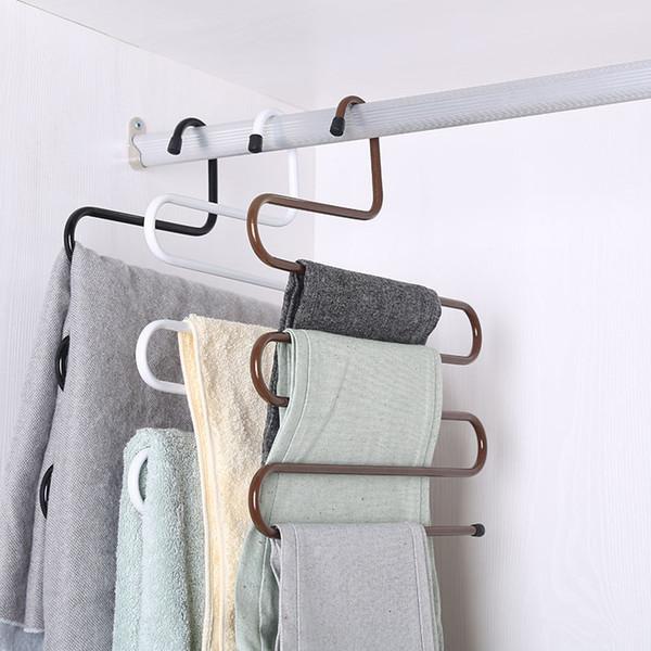 Nouvelle garde-robe de stockage Pantalons Type Pantalon Hanger multi couches de vêtements en acier inoxydable serviette Rack de stockage Closet Space Saver