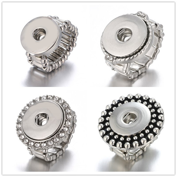 Newest 10pcs/lot Snap Ring jewelry fit 18mm Ginger Snap Metal Silver Rings Snap Button Adjustable Ring
