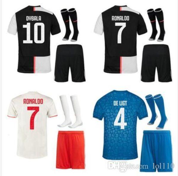 S-2XL 19 20 Juventus Soccer Jersey Kit 2018 2019 DE Ligt Dybala HIGUAIN Mandzukic BUFFON RONALDO di calcio Camicia uniforme