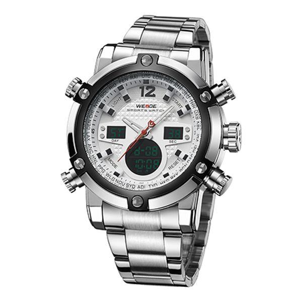 WEIDE Hombres Reloj Automático Digital Electrónico Relojes de Camping LCD Led Reloj de Cuarzo Reloj de Acero Inoxidable Deporte Orologio Reloj WH5205