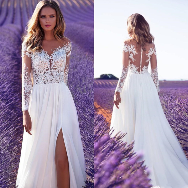 Milla Novia 2019 Summer Beach Wedding Dresses High Side Slit Lace Sheer Neck A Line Sweep Train Chiffon Illusion Country Bridal Gowns Cheap