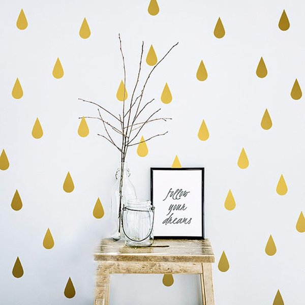 4*6cm*20pcs Gold Raindrop Wall Sticker For Kids Baby Rooms Bedroom Poster Home Decor Child Gifts PVC DIY Art Mural Wall Decals