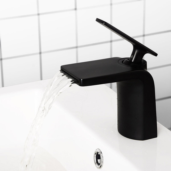 Brass Waterfall Faucet Matt Black Bathroom Basin Faucet Single Hole Mount Brushed Gold Water Mixer Chrome Tap