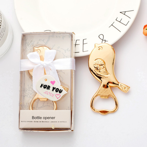 New Creative Alloy Love Bird Bottle Opener Party Favors and Gifts Wedding Supplies Free Shipping
