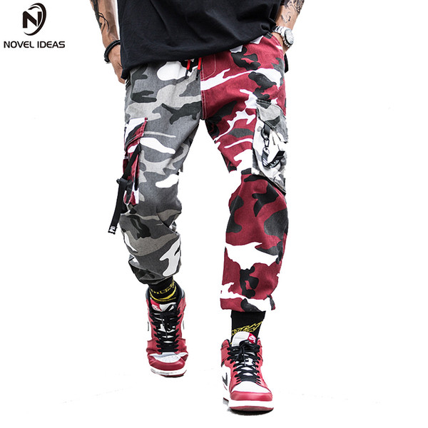 Dois-Tom Camuflagem Calças De Carga Calças Dos Homens Skate Bib Total Camo Combate Camuflagem Estilo Calças Retas EUA tamanho