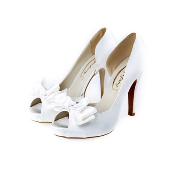 Sıcak Selllers Peep Toe Boş Yan Saten Deri Düğün Ayakkabı Papyon Gelin Ayakkabı Akşam Balo yüksek topuk Parti topuklu 8 cm 10.5 cm boyutu 34-43