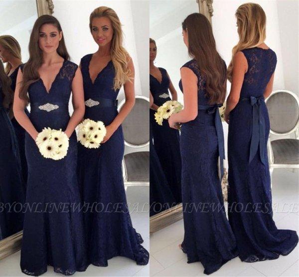 Marinha escura da dama de honra vestidos de 2019 sexy a linha decote em v plus size maid of honor vestidos de casamento convidado festa à noite usa com cinto