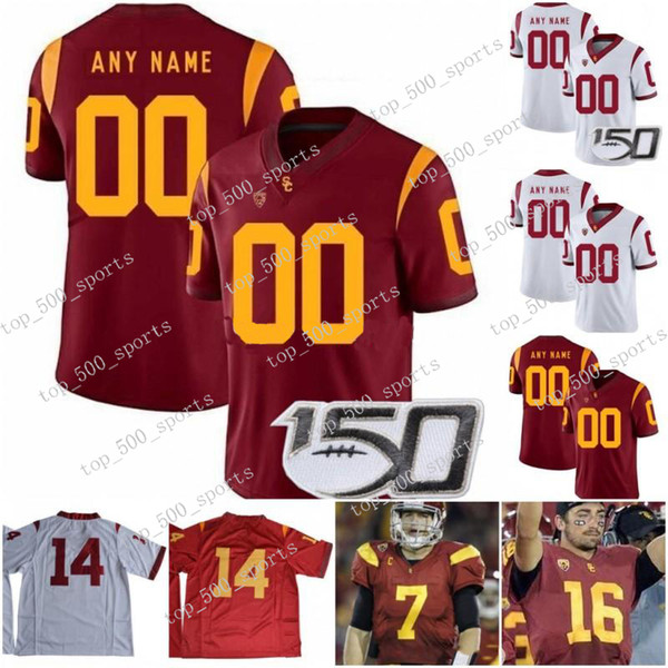 Custom USC Trojans 2020 Football Any Name Number Red White 9 Kedon Slovis JuJu Smith-Schuster 18 JT Daniels Seau Bush NCAA 150TH Jersey