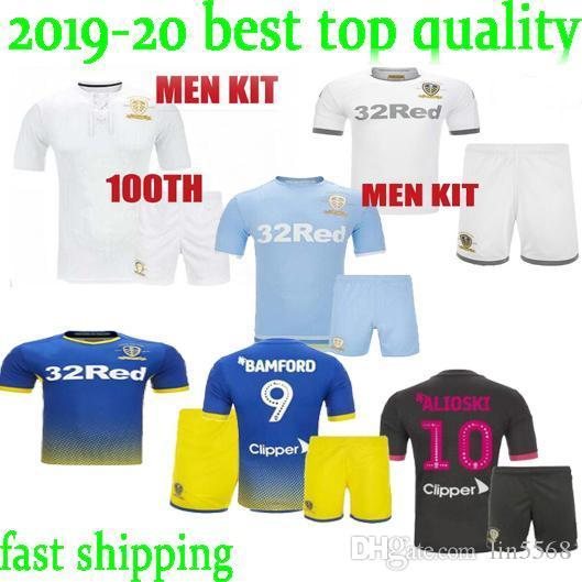 best quality in stock 19 20 Leeds United 100TH Adult kit soccer Jersey HARRISON home away third COSTA Adult BLUE kit FOOTBALL shirts uniform