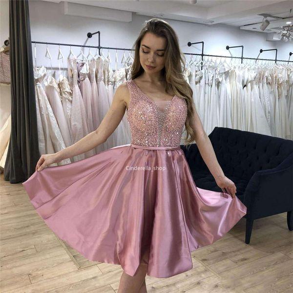 Sparkly Rosa Abiti Homecoming V-Collo Paillettes rilievo cerniera posteriore maniche festa di laurea abiti di promenade 2019 Robes
