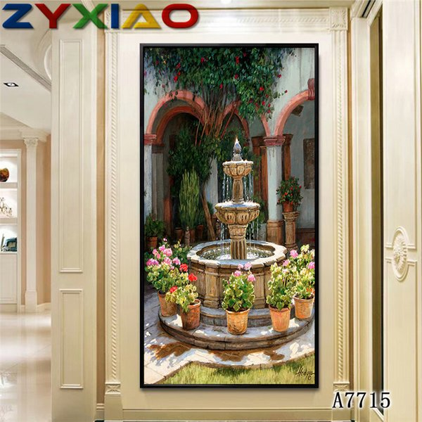 ZYXIAO Big Size Oil Painting Art landscape flower garden fountain Home Decor on Canvas Modern Wall Art No Frame Print Poster picture A7715