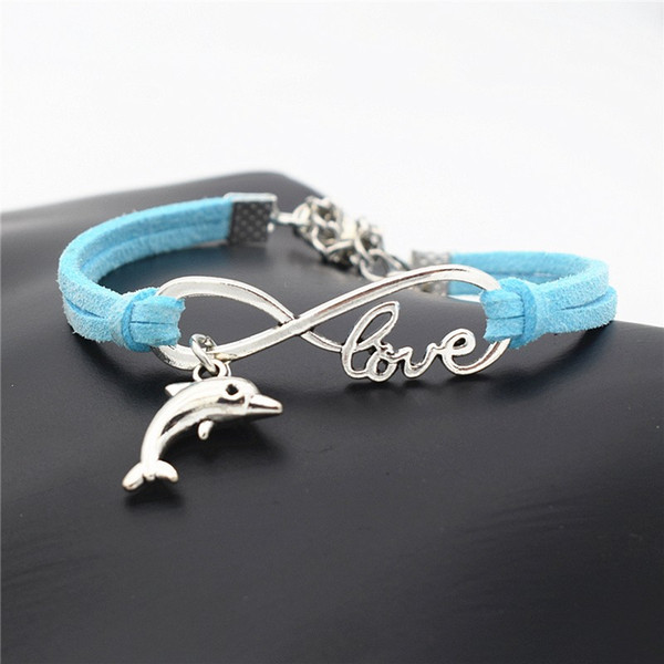 Fashion Handmade Weave Vintage Infinity Love Animal Lovely Dolphin Accessories Jewelry Blue Leather Suede Charm Women Men Bracelet & Bangles
