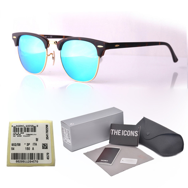 Top quality Metal hinge Brand Designer sunglasses men women Semi-Rimless frame Mirror glass lenses Cat Eye sun glasses with cases and label