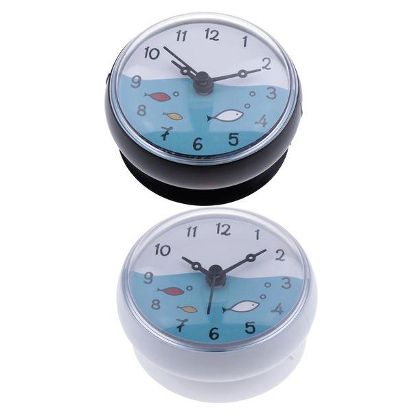 top popular Set Of 2 Bathroom Clock Waterproof Suction Cup Kitchen Mini Bath Wall Clock 2021