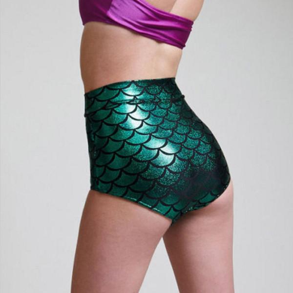 Señoras de las mujeres de Cintura Alta Sirena Flacos Pantalones Cortos Elásticos Playa Bragas Delgadas Corto Casual Mujer Escala de Pescado Shorts Flacos 7G0063