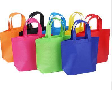 10PC Multi-use Gift Tote Bags Kids Birthday Party favor Non-woven Treat Bags 7 Solid Color with Handle Shopping Bag DIY Gift Bag