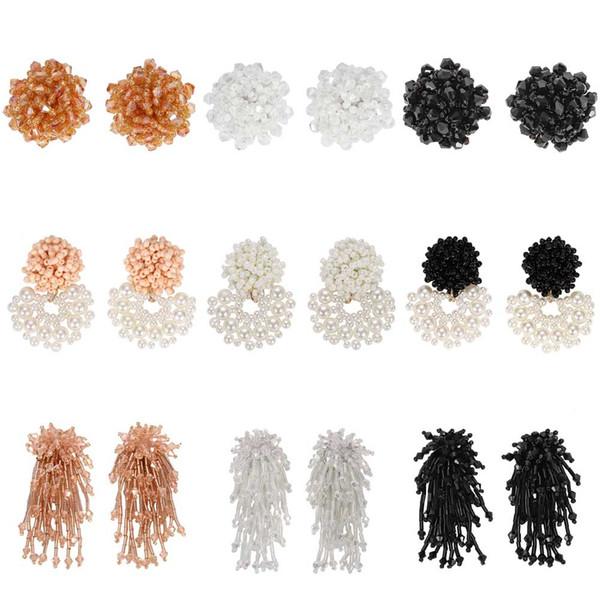 Best lady 2019 New Bohemian Handmade Beaded Earrings Women Wedding Statement Jewelry Brand Design Korean Party Drop Earings Gift