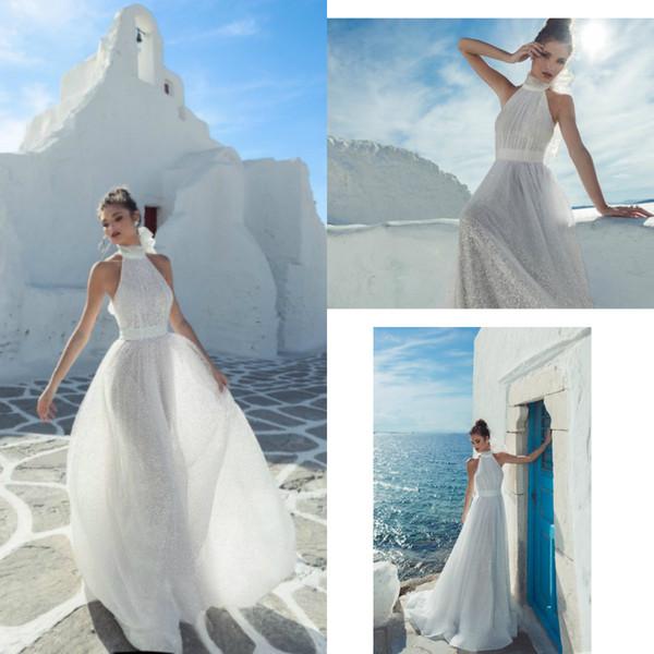 2019 Julie Vino A Line Boho Wedding Dresses Lace Glitter Halter Sweep Train Beach Wedding Dress Plus Size Bohemian Bridal Gowns