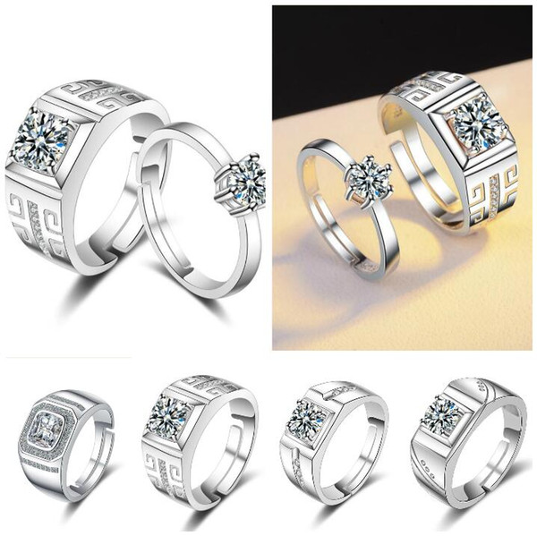 Elegante CZ Diamant Eheringe Silber Farbe platiniert Kubikzircon Engagement Schmuck für Männer und Frauen Valentinstag Geschenk