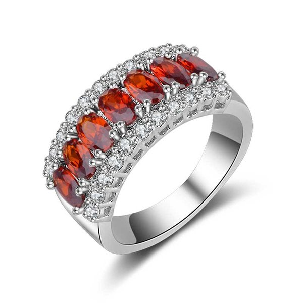 Row of Egg-shaped Stone and Zircon Ring Trend Simple and Simple Ring White Gold Pomegranate Red Copper Ring