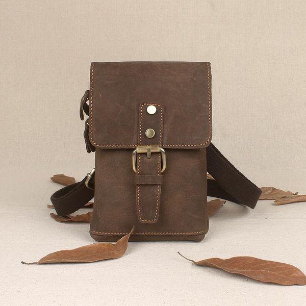 100% Genuine Leather Men Small Messenger Bag Crazy Horse Mini Casual Single Shoulder Bag Fashion Waist Cell Phone