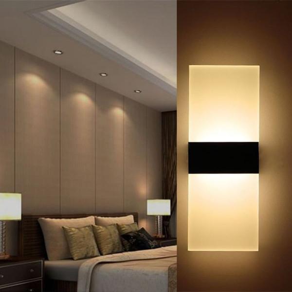 Luce della parete del LED 29x11cm moderna 85-265V Acrilico Camera da letto Comodino Luce Soggiorno Balcone della navata laterale della lampada da parete Corridoio del riparo della lampada