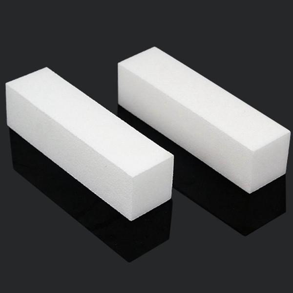 10 x Nail art punte acriliche bianche Buffer Buffing Levigatura Block Files Manicure Tool