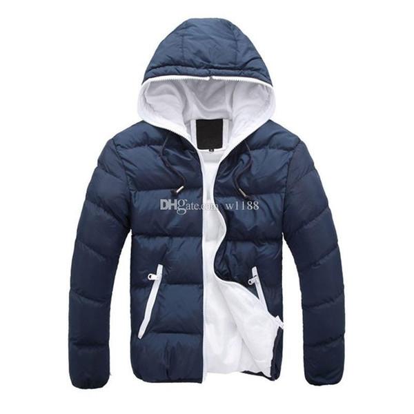 2018 nuova giacca invernale di marca per gli uomini cappotti incappucciati uomini casuali spesso strato di cotone maschio casuale sottile imbottita giù capispalla