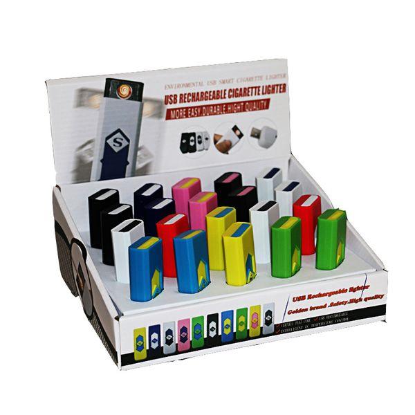 Accendisigari USB ricaricabile Accendisigari elettronico Accendino antivento senza fiamma Senza gas combustibile ABS ignifugo Plastica DHL libero 460