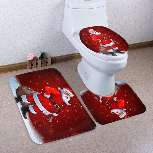 Cilected 3 Pcs Brand Merry Santa Claus Anti Slip Toilet Carpet Bathroom Mat Set Toilet Mats For Three Sets Christmas Decor