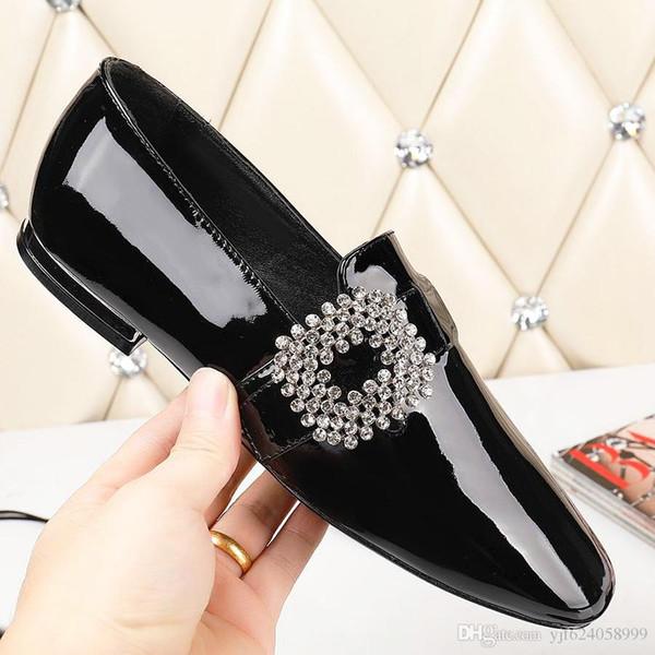 Nuevos zapatos de mujer de charol sexy de alta calidad, zapatos planos de piel de charol de estrás, zapatos de boda de ballet, zapatos casuales qw