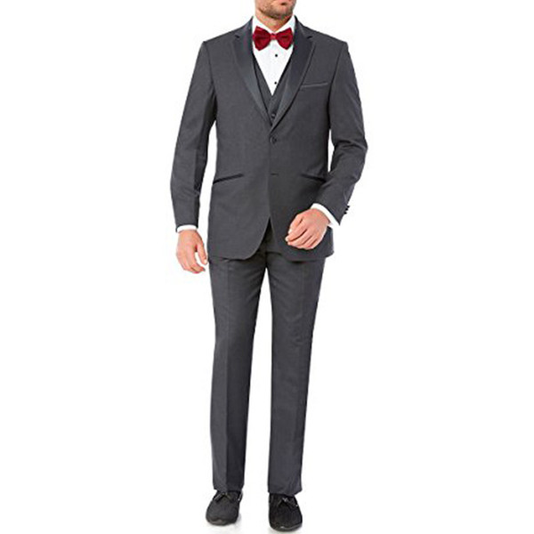 Gray Wedding Groom Tuxedso Groomsmen Wear Three Piece Jacket Pants Vest Notched Lapel Custom Made Business Formal Men Suits
