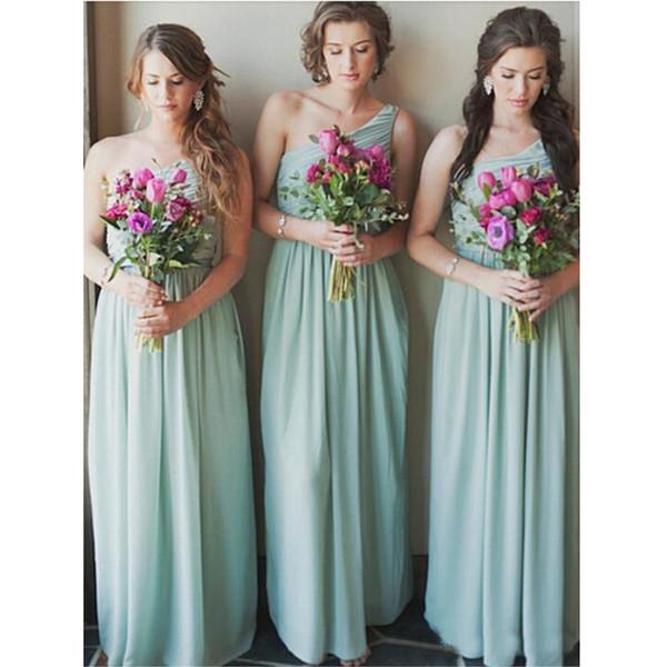2019 New Cheap Mint Green One Shoulder Bridesmaid Dresses Pleats Floor Length Chiffon Maid Dress Custom Made