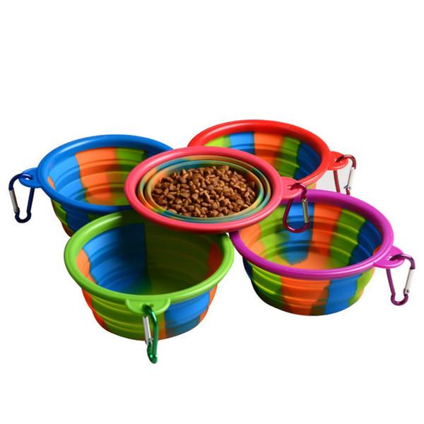 Kamuflaj Pet Bowl Silikon Katlanabilir Katlanır Köpek Kase Karabina Ile Taşınabilir Açık Seyahat Gıda Su Besleme Için Pet ...