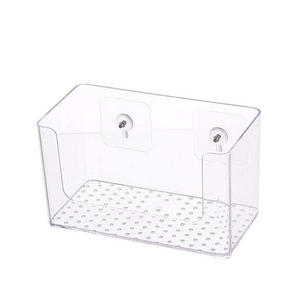 1pc Wall-Mounted Storage Box Creative Convinent Self Adhensive Universal Hanging Portable Storage Case Box Transparent