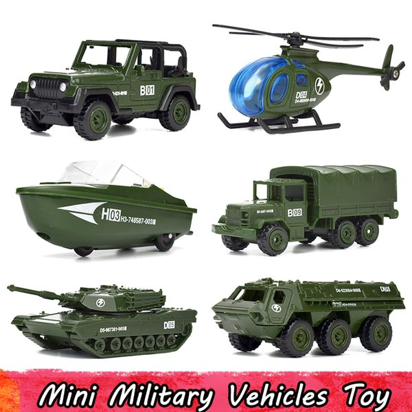 6 Pcs/Set Mini Alloy Military Vehicles Model Car Toys for Children Diecast Helicopter Tank Armored Speedboat SUV Car Gifts for Boys